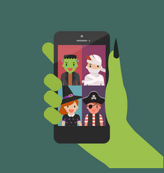 halloween party video conference from smartphone vector image