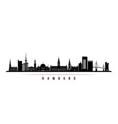 Hamburg skyline horizontal banner black and white vector