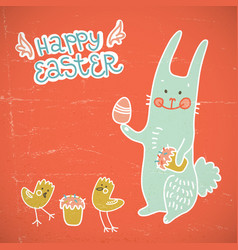happy easter red doodle card vector image