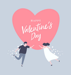 happy valentine day with lovely couple vector image