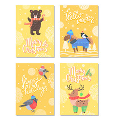 Hello winter merry christmas 60s theme postcard vector