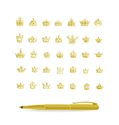 Heraldic elements design set of hand drawn golden vector