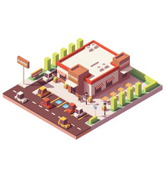 Isometric low poly fast food restaurant vector