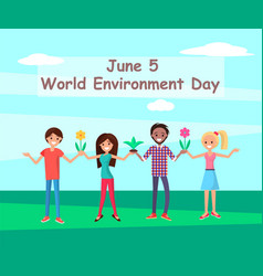 june 5 world environment day connecting people vector image