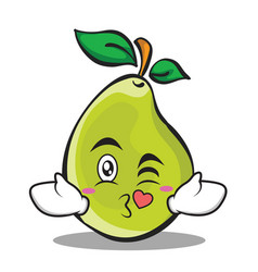 Kissing face pear character cartoon vector