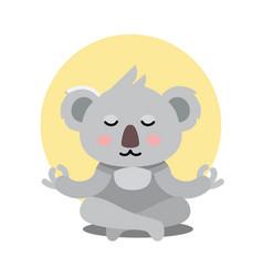 Koala bear sits in yoga pose and meditates vector