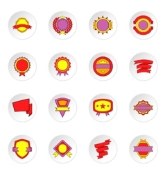 Label and ribbon icons set flat style vector