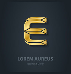 Letter E elegant gold font Template for company vector image