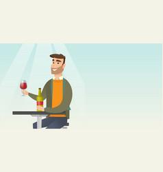Man drinking wine in the restaurant vector