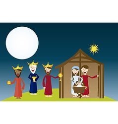 Manger with magi over landscape night vector