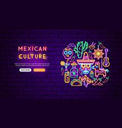 mexican culture neon banner design vector image