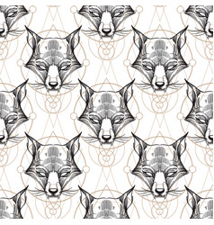 Muzzle fox seamless pattern for the design of the vector