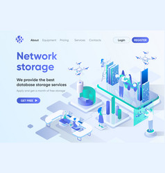 network storage isometric landing page vector image