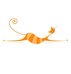 Orange Stripe Cat vector image