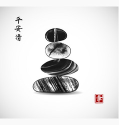 Pebble zen stones balance on white background vector