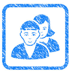 People pair framed stamp vector