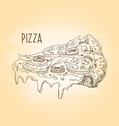 pizza freehand drawing vector image