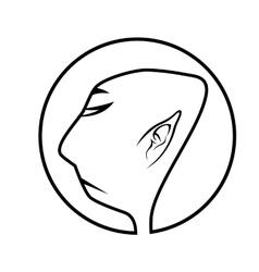 Profile of buddhist monk vector