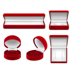 realistic red jewelry boxes set vector image