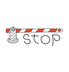 Road barrier and stop sign conceptual image vector