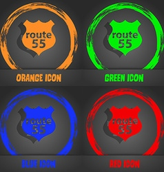 Route 55 highway icon sign Fashionable modern vector
