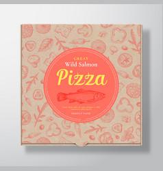 Salmon fish pizza realistic cardboard box vector