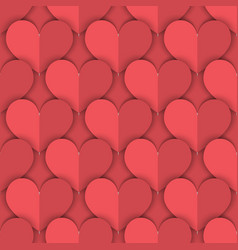 seamless pattern of salmon paper hearts vector image