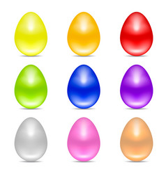 set colorful realistic easter eggs vector image