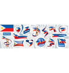 Set national flag philippines in vector