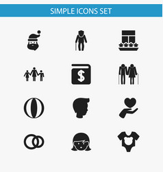 set of 12 editable kin icons includes symbols vector image