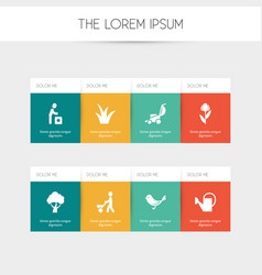set of 8 editable planting icons includes symbols vector image