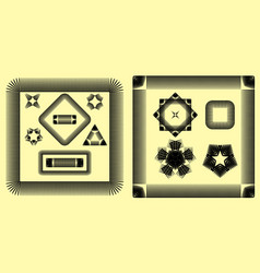 set of frames from a square and stars in an vector image