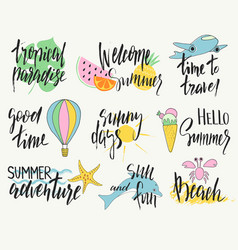 set of hand drawn summer labels logos and vector image