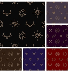 Set of hipster style seamless background vector