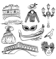 Set of venice sketch vector