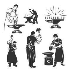 Set vintage blacksmith labels and design vector