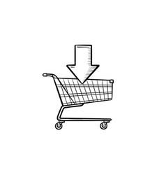 shopping online cart hand drawn outline doodle vector image