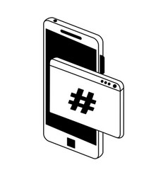 smartphone programming code symbol in black and vector image