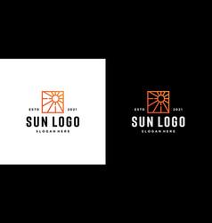 sun logo icon design linear vector image