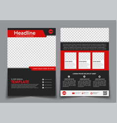 Template flyer black with red elements for vector