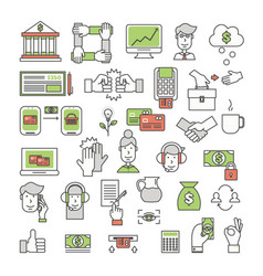 Thin line art style design bank icon set vector