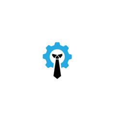 Tie business with gear logo design icon vector