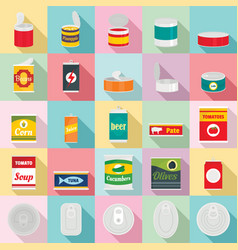 Tin can food package jar icons set flat style vector