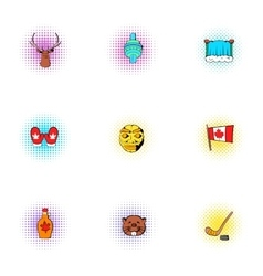 Tourism in Canada icons set pop-art style vector