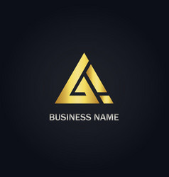 triangle sign gold company logo vector image