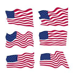Usa flag set on white background vector