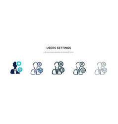 Users settings icon in different style two vector