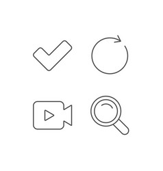 video camera search and check line icons vector image