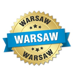 Warsaw round golden badge with blue ribbon vector