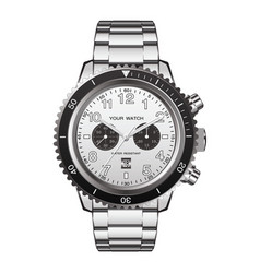 Watch clock chronograph stainless steel vector
